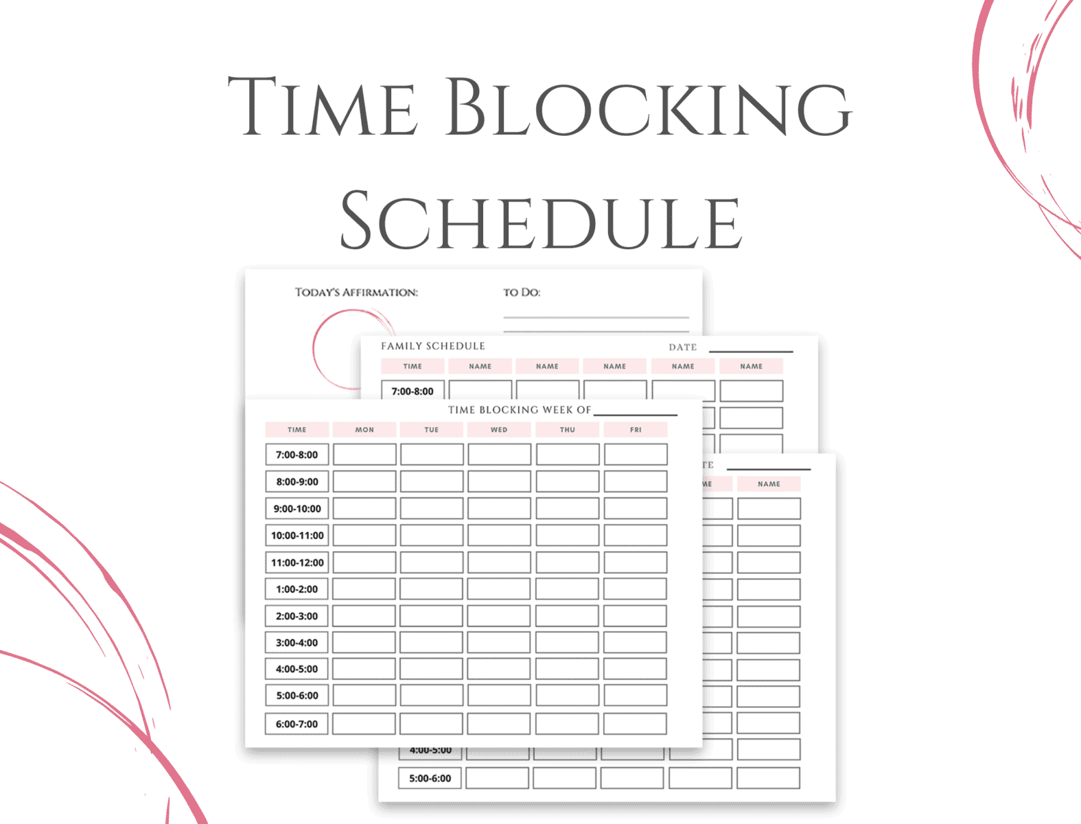 Time Blocking Template for Moms