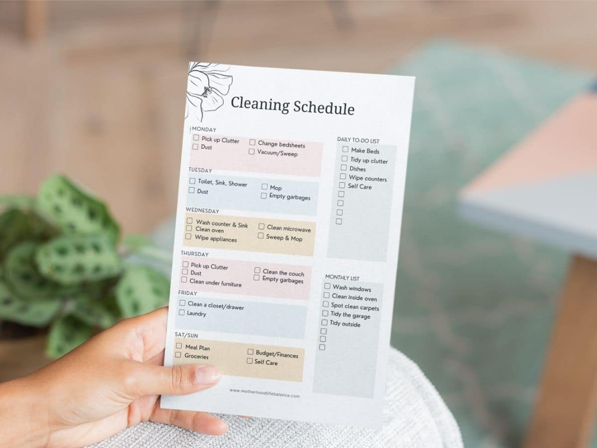 How To Create a Cleaning Schedule for Working Moms   Motherhood ...